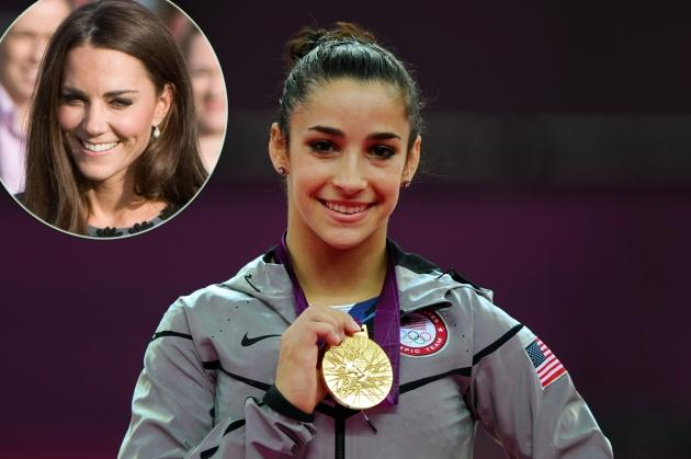 Aly Raisman poses on the podium during the medal ceremony for the Artistic Gymnastics Women's Floor Exercise final at the London 2012 Olympic Games on August 7, 2012, inset: Kate Middleton -- Getty Images