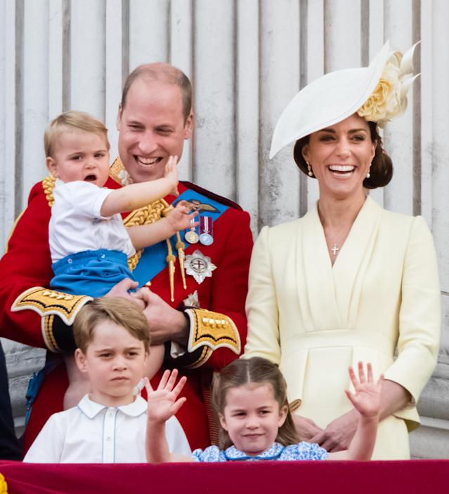 The Duke and Duchess of Cambridge with their three children on the balcony for Trooping the Colour (Getty)