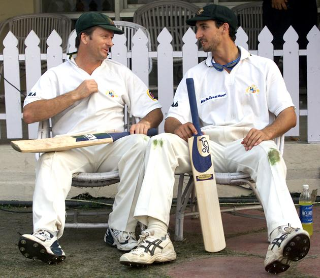 Steve Waugh (left) and Jason Gillespie of Australia reflect on the ninth wicket partnership, after day two of the 2nd Test between India and Australia played at Eden Gardens, Calcutta, India. X DIGITAL IMAGE  Mandatory Credit: Hamish Blair/ALLSPORT