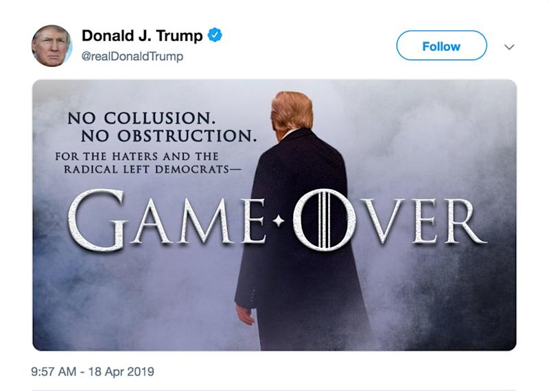 Donald Trump Reacts to Mueller Report with (Another)   Game of Thrones -Inspired Tweet About His 'Haters'