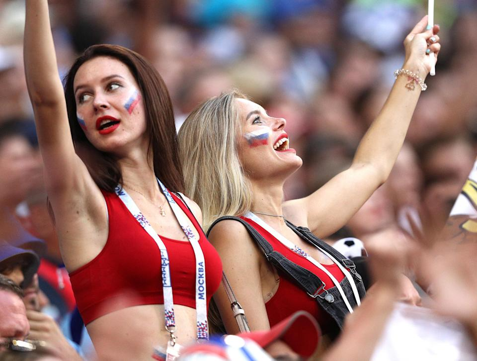 <p>Russia's supporters in their 2018 FIFA World Cup Group A football match against Uruguay at Samara Arena Stadium. Team Uruguay won the game 3:0. Yegor Aleyev/TASS (Photo by Yegor Aleyev\TASS via Getty Images) </p>
