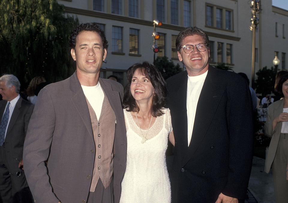 """HOLLYWOOD - JUNE 23:   Actor Tom Hanks, actress Sally Field and director Robert Zemeckis attend the """"Forrest Gump"""" Hollywood Premiere on June 23, 1994 at the Paramount Studios in Hollywood, California. (Photo by Ron Galella, Ltd./Ron Galella Collection via Getty Images)"""