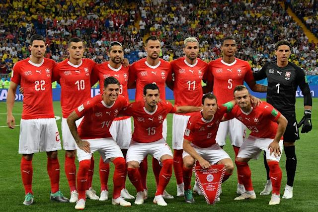 Four of Switzerland's starting lineup in the match against Brazil were either born in Kosovo or Macedonia (AFP Photo/PASCAL GUYOT)