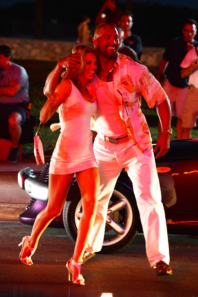 """Dwayne Johnson and Bar Paly are sighted on the movie set of """"Pain and Gain"""" on April 25, 2012 in Miami Beach, Florida."""