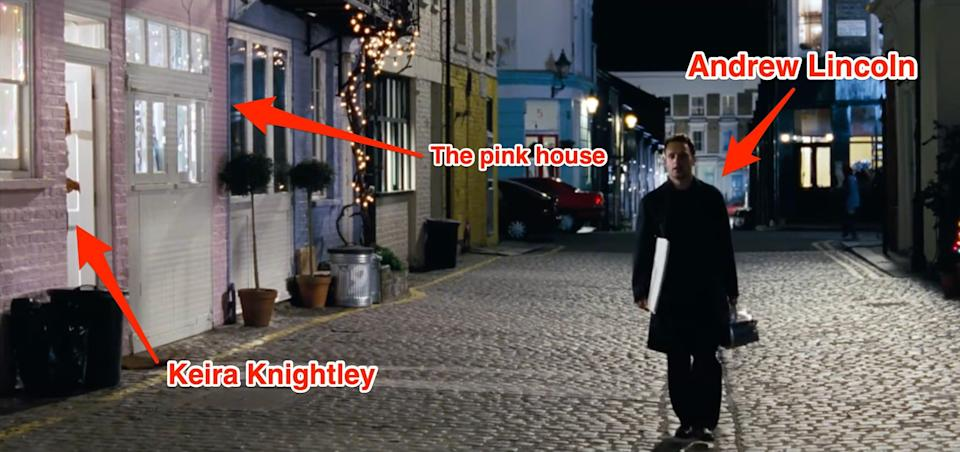 """A screenshot from """"Love Actually"""" during the scene filmed at St. Lukes Mews."""