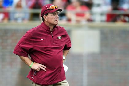 TALLAHASSEE, FL - APRIL 11: Head coach Jimbo Fisher of the Florida State Seminole watches action during Florida State's Garnet and Gold spring game at Doak Campbell Stadium on April 11, 2015 in Tallahassee, Florida. (Photo by Stacy Revere/Getty Images)