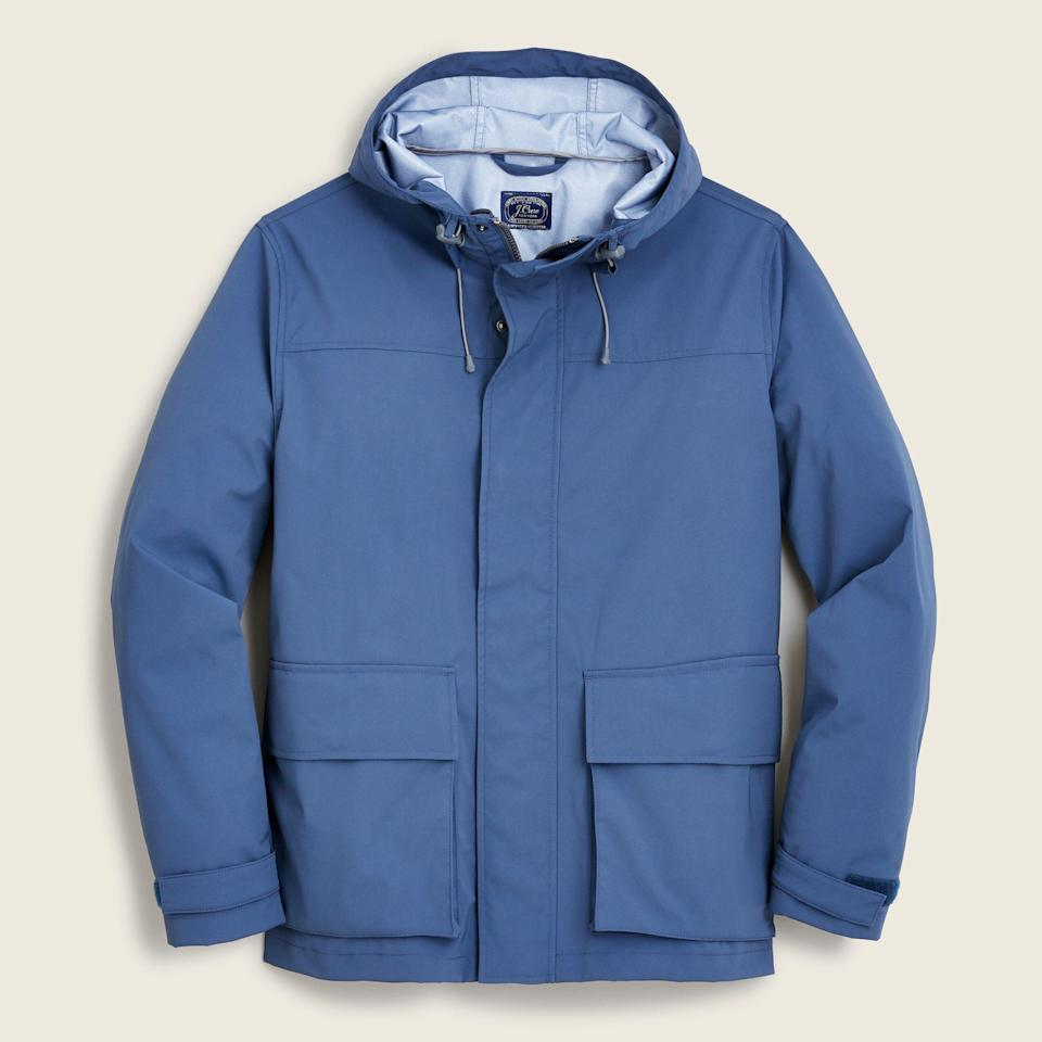 """<p><strong>J.Crew</strong></p><p>jcrew.com</p><p><strong>$99.99</strong></p><p><a href=""""https://go.redirectingat.com?id=74968X1596630&url=https%3A%2F%2Fwww.jcrew.com%2Fp%2FAJ375&sref=https%3A%2F%2Fwww.esquire.com%2Fstyle%2Fadvice%2Fg2995%2Fbest-fall-coats-jackets%2F"""" rel=""""nofollow noopener"""" target=""""_blank"""" data-ylk=""""slk:Shop Now"""" class=""""link rapid-noclick-resp"""">Shop Now</a></p><p>If sunny skies aren't in the forecast, it's best to have a rain jacket handy. And this no-frills option from J. Crew is just what dependable dudes need to have a bright day. </p>"""