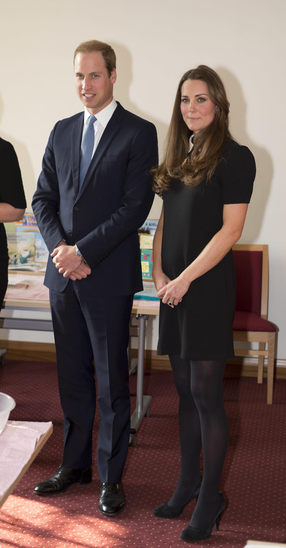 <p>The Duke and Duchess of Cambridge visited the Child Bereavement offices five years ago and for the occasion, Kate dressed her bump in a peter pan-collared dress by Topshop. <em>[Photo: Getty]</em> </p>