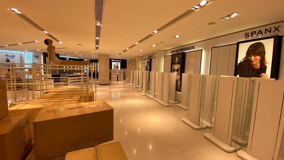 The wiped out lingerie section at the Raffles City outlet. Photo: Coconuts