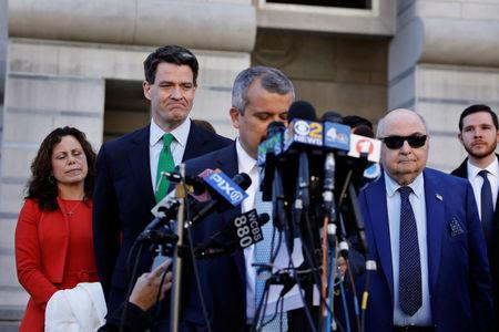 Former deputy executive director of the Port Authority of New York and New Jersey, Bill Baroni (2nd L), listens as his lawyer speaks following his sentencing in the Bridgegate trial at the Federal Courthouse in Newark, U.S., March 29, 2017.  REUTERS/Lucas Jackson