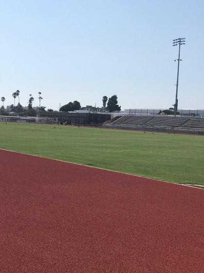 Venice's new grass football stadium is nearing completion and includes an all-weather track.