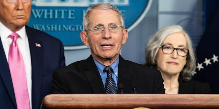 Anthony Fauci, Director of the National Institute of Allergy and Infectious Diseases, speaking at a press conference about the Coronavirus.-