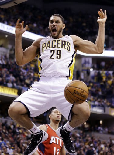 Indiana Pacers forward Jeff Pendergraph reacts after a dunk against the Atlanta Hawks in the second half of Game 2 of a first-round NBA basketball playoff series in Indianapolis, Wednesday, April 24, 2013. The Pacers won 113-98. (AP Photo/Michael Conroy)