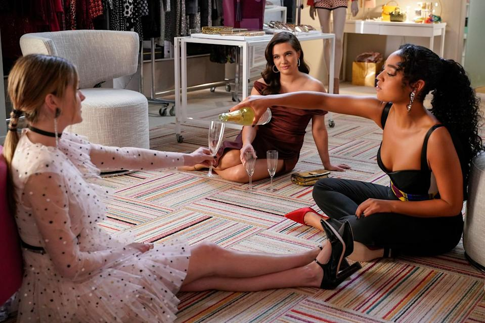 """<p>Similar to <strong>Katy Keene</strong>, this series also revolves around glamorous 20-somethings working in the Manhattan fashion industry as employees at Scarlet, a <strong>Cosmopolitan</strong>-esque publication. While the friendship between Jane, Kat, and Sutton is far less fraught than the friendship between Blair and Serena, there's still plenty of drama to dive into. You may also recognize Sutton from <strong><a class=""""link rapid-noclick-resp"""" href=""""https://www.popsugar.co.uk/Gossip-Girl"""" rel=""""nofollow noopener"""" target=""""_blank"""" data-ylk=""""slk:Gossip Girl"""">Gossip Girl</a></strong>, as actress Meghann Fahy played the small part of Devyn on the series. </p> <p><strong>Where to watch: </strong><a href=""""http://www.hulu.com/series/the-bold-type-45c40273-0742-4324-af23-db4a484b3af3"""" class=""""link rapid-noclick-resp"""" rel=""""nofollow noopener"""" target=""""_blank"""" data-ylk=""""slk:Hulu"""">Hulu</a></p>"""