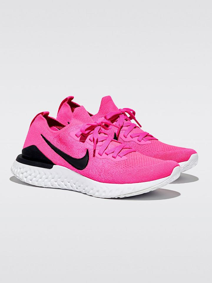 """<p>We're obsessed with how supportive and reactive these <a href=""""https://www.popsugar.com/buy/Nike-Epic-React-Flyknit-2-585927?p_name=Nike%20Epic%20React%20Flyknit%202&retailer=carbon38.com&pid=585927&price=128&evar1=fit%3Aus&evar9=47585636&evar98=https%3A%2F%2Fwww.popsugar.com%2Ffitness%2Fphoto-gallery%2F47585636%2Fimage%2F47585646%2FNike-Epic-React-Flyknit-2&list1=shopping%2Cworkout%20clothes%2Csale%2Csale%20shopping&prop13=mobile&pdata=1"""" rel=""""nofollow"""" data-shoppable-link=""""1"""" target=""""_blank"""" class=""""ga-track"""" data-ga-category=""""Related"""" data-ga-label=""""https://www.carbon38.com/product/nike-epic-react-flyknit-2-pink-blast-black-white"""" data-ga-action=""""In-Line Links"""">Nike Epic React Flyknit 2</a> ($128, originally $150) sneakers are, and the color is so fun.</p>"""