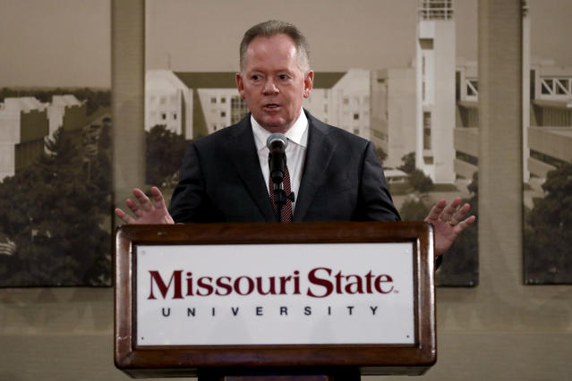 Bobby Petrino speaks after being introduced as the new NCAA college football head coach at Missouri State during a news conference Thursday, Jan. 16, 2020, in Springfield, Mo. Petrino has a 119-56 record in 14 seasons at Arkansas, Western Kentucky and Louisville and replaces Dave Steckel who was fired after winning just 13 games in five seasons. (AP Photo/Jeff Roberson)