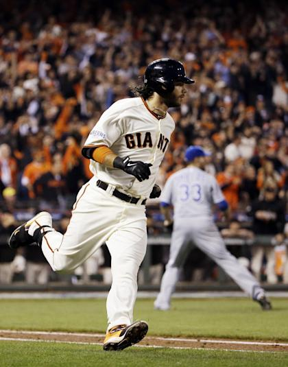 Brandon Crawford drove in three runs for the Giants in Game 5. (AP)