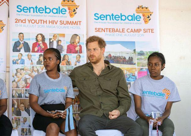 PHOTO: Prince Harry, The Duke of Sussex joins in a confidence building exercise with young people during a visit to the Kasane Health Post, run by the Sentebale charity, in Kasane, Botswana, Sept. 26, 2019. (Reuters)