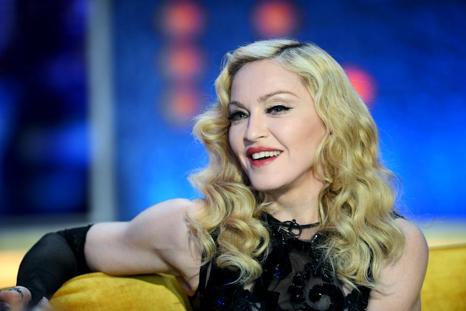 LONDON, ENGLAND - FEBRUARY 26:  Singer Madonna makes an appearance on The Jonathan Ross Show at the ITV Studios on February 26, 2015 in London, England.  (Photo by Dave J Hogan/Getty Images)