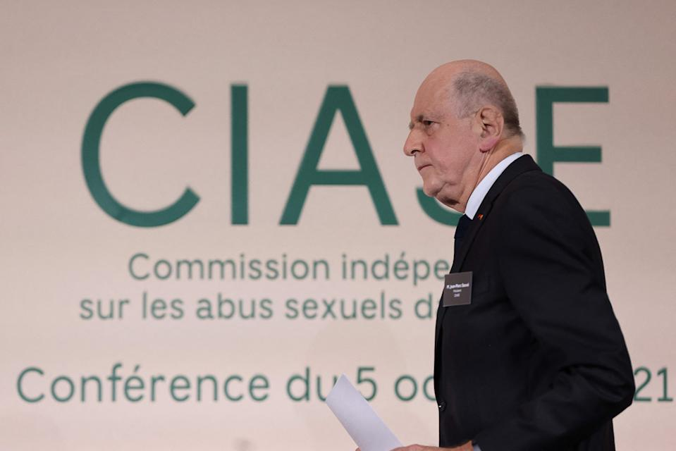 Commission president Jean-Marc Sauve attends the publishing of a report by an independant commission into sexual abuse by church officials (Ciase) on October 5, 2021, in Paris. - The commission's two and a half years of research based on church, court and police archives, as well as interviews with witnesses, uncovered between 2,900 and 3,200 paedophile priests or other members of the church have operated inside the French Catholic Church since 1950. (Photo by THOMAS COEX / various sources / AFP) (Photo by THOMAS COEX/AFP via Getty Images)