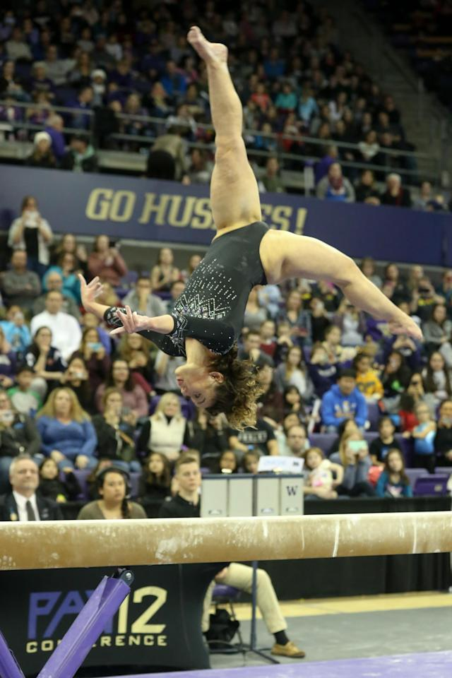 UCLA gymnast Katelyn Ohashi performs her routine on the balance beam during a women's college gymnastics meet between the UCLA Bruins and the Washington Huskies on February 10, 2019, at the Alaska Airlines Arena in Seattle, WA. (Photo by Jesse Beals/Icon Sportswire via Getty Images)