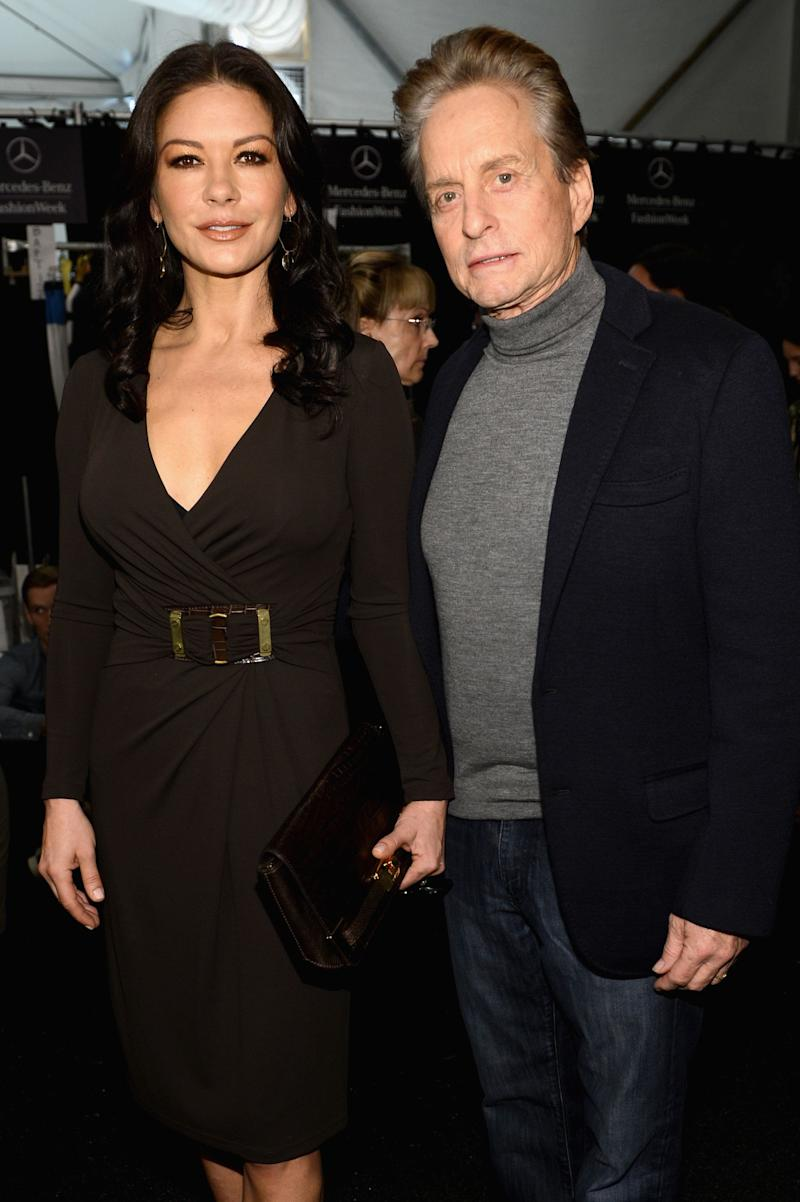 """""""God bless her, [Catherine Zeta-Jones] likes older guys,""""<a href=""""http://www.huffingtonpost.com/2010/01/22/michael-douglas-thank-goo_n_432716.html""""> Douglas told AARP</a>. """"And some wonderful enhancements have happened in the last few years -- Viagra, Cialis -- that can make us all feel younger."""""""