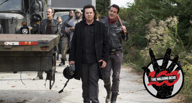 Josh McDermitt as Dr. Eugene Porter, Jeffrey Dean Morgan as Negan (Photo: Gene Page/AMC)