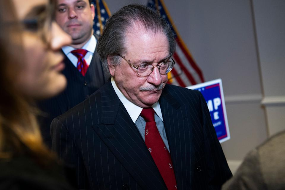 Joseph diGenova, attorney for President Donald Trump's campaign, at a Nov. 19 press conference where Trump lawyers Rudy Giuliani, Jenna Ellis and Sidney Powell peddled conspiracy theories about the 2020 election. (Photo: Tom Williams via Getty Images)