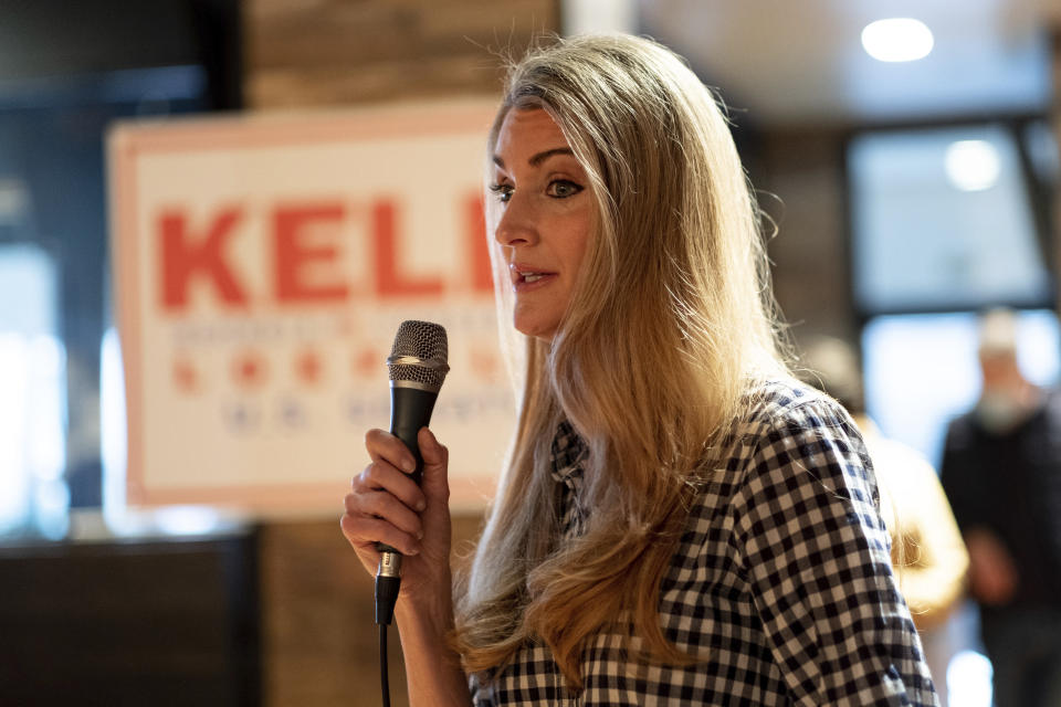 U.S. Sen. Kelly Loeffler, R-Ga.,talks to supporters during a campaign event Friday, Dec. 31, 2020 at McCray's Tavern in Marietta, Ga. (AP Photo/Ben Gray)