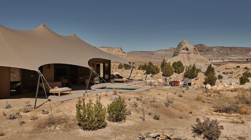 """<p>The name of this year-round outpost of Utah's Amangiri hotel is derived from the Sanskirt word for """"open space"""" and """"sky""""—which pretty much captures its primal appeal. And then, of course, there are the luxuries, so nice to come home to after your outdoorsy adventures: Each of the 10 tented pavilions—equally divided between one- and two-bedroom--comes with a private plunge pool, indoor and outdoor living areas (and showers), a firepit, sunbeds, and telescopes for viewing the night sky. The camp's central area has a lounge, restaurant, spa, and swimming pool. You never have to budge from the camp, but should you wish to, the facilities at the nearby mothership, Amangiri, are at your disposal. (Open year-round.) </p><p><a class=""""link rapid-noclick-resp"""" href=""""https://www.aman.com/resorts/amangiri/camp-sarika"""" rel=""""nofollow noopener"""" target=""""_blank"""" data-ylk=""""slk:Book Now"""">Book Now</a></p>"""
