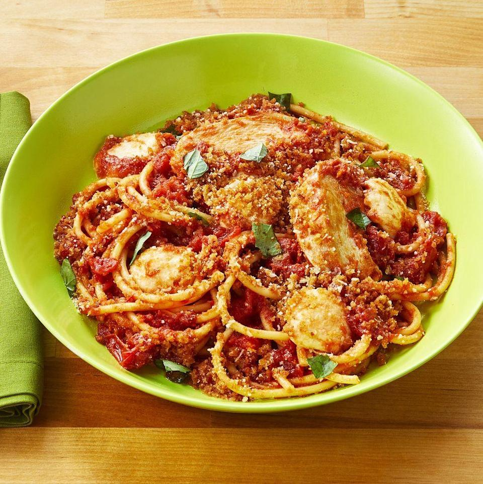 """<p>Deconstruct your family's favorite chicken parm recipe with the help of this tutorial. Not one, but <em>two</em> cheeses are involved.</p><p><a href=""""https://www.thepioneerwoman.com/food-cooking/recipes/a34763888/chicken-parm-pasta/"""" rel=""""nofollow noopener"""" target=""""_blank"""" data-ylk=""""slk:Get the recipe"""" class=""""link rapid-noclick-resp""""><strong>Get the recipe</strong></a>.</p>"""