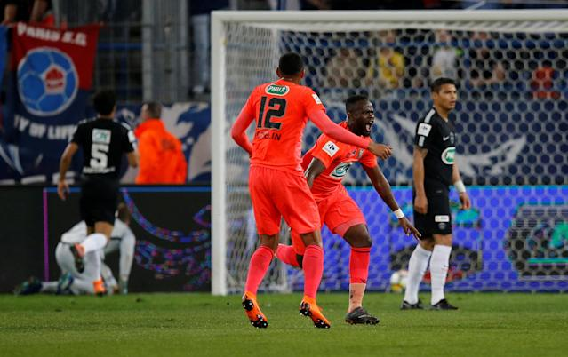 Soccer Football - Coupe de France - Semi-Final - Caen vs Paris St Germain - Stade Michel d'Ornano, Caen, France - April 18, 2018 Caen's Ismael Diomande celebrates scoring their first goal REUTERS/Stephane Mahe
