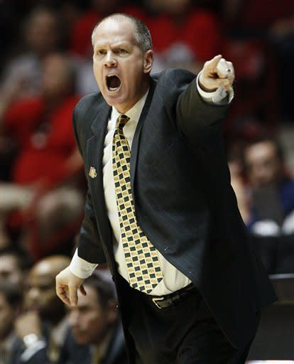 Colorado coach Tad Boyle calls to his players during the first half of an NCAA men's college basketball tournament second-round game against UNLV on Thursday, March 15, 2012, in Albuquerque, N.M. (AP Photo/Matt York)