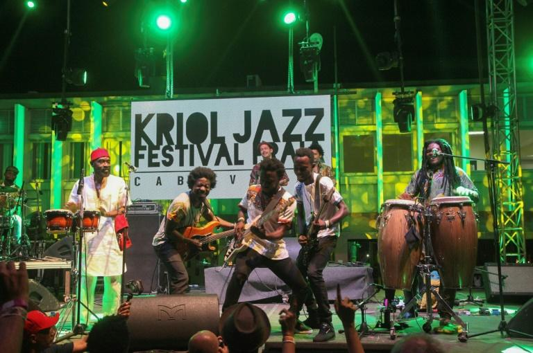 The Pat Thomas & Kwashibu Area Band from Ghana perform at the Kriol Jazz Festival, one of two music events in Praia that draw talent from as far away as Haiti and Brazil