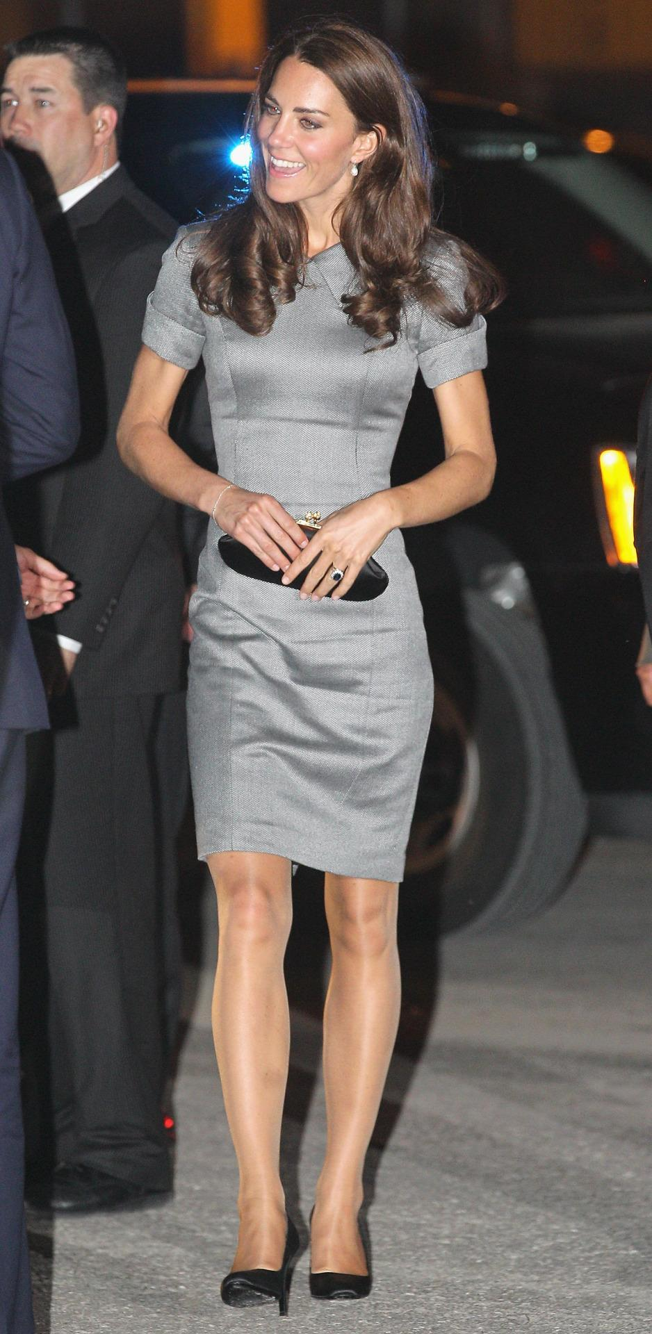 <p>Enjoying a third day in Canada, Kate chose a chic grey Catherine Walker dress with a taupe Hobbs clutch and Tabitha Simmons pumps.</p><p><i>[Photo: PA]</i></p>