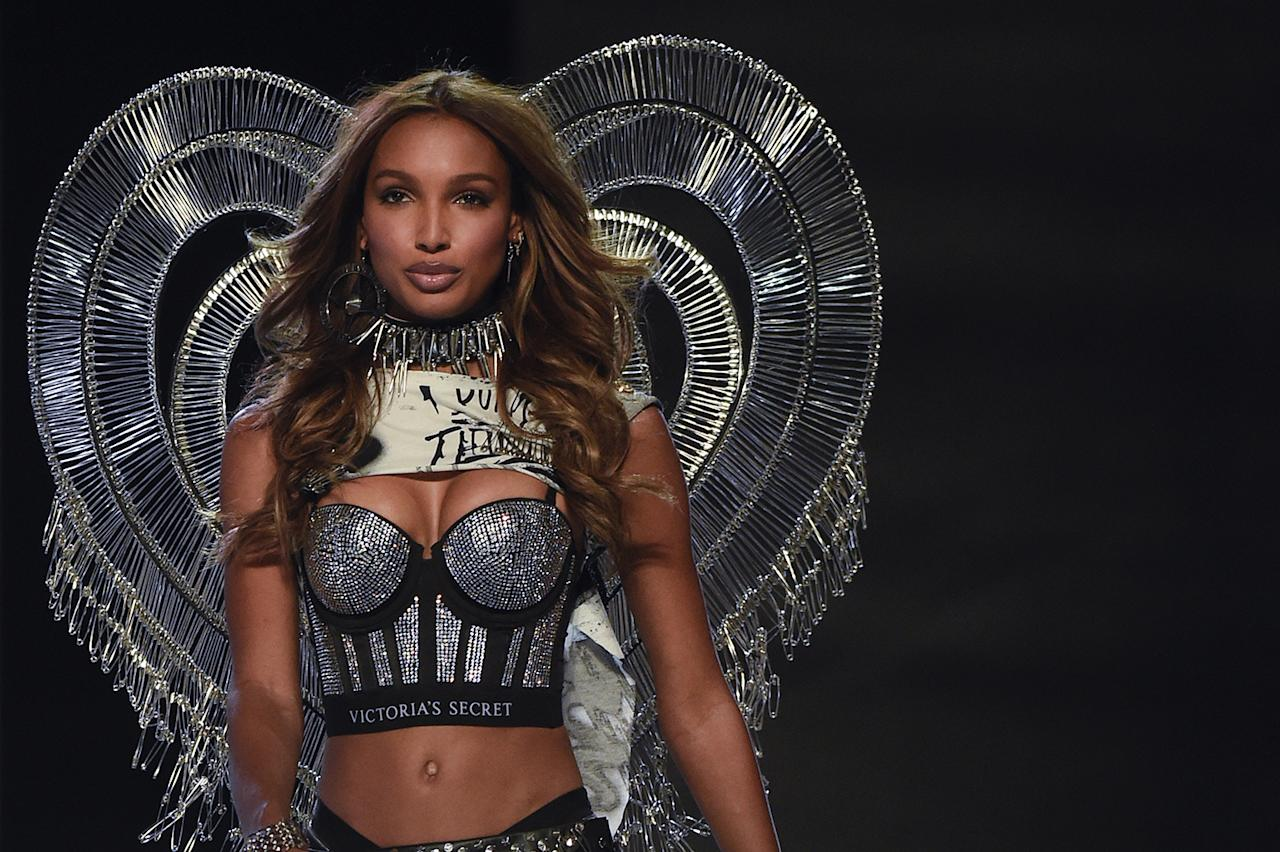 US model Jasmine Tookes presents a creation during the 2017 Victoria's Secret Fashion Show in Shanghai