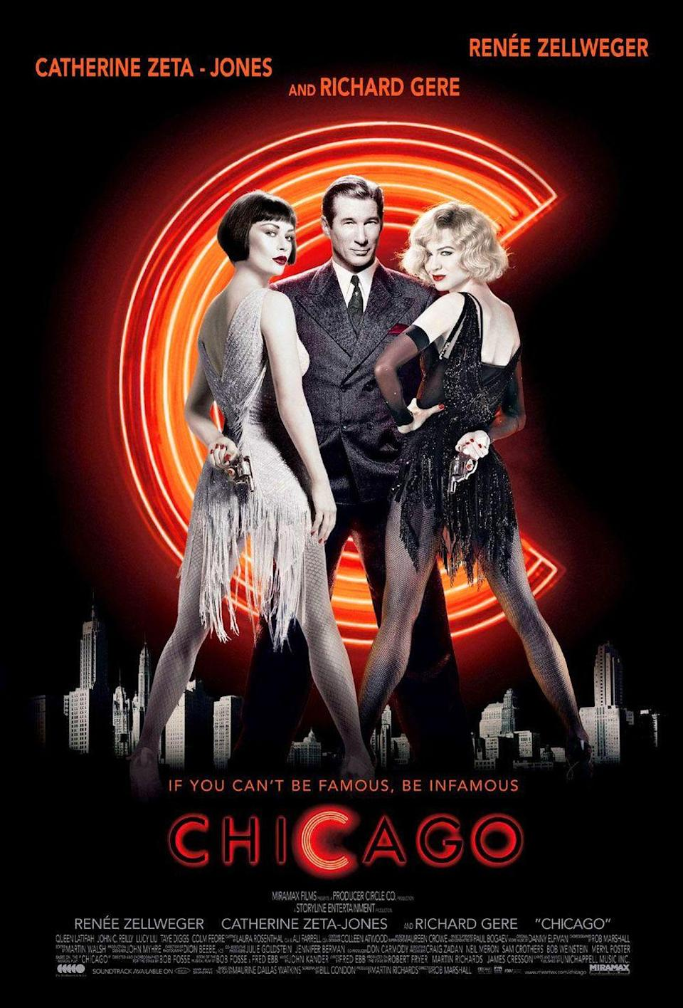 "<p><em><a href=""https://www.oprahmag.com/entertainment/a27056228/bob-fosse-gwen-verdon-true-story/"" rel=""nofollow noopener"" target=""_blank"" data-ylk=""slk:Chicago"" class=""link rapid-noclick-resp"">Chicago </a></em>is a prime example of how to do a stage-to-screen adaptation flawlessly. Catherine Zeta-Jones and <a href=""https://www.oprahmag.com/entertainment/a27420426/renee-zellweger-judy-garland-transformation-photo/"" rel=""nofollow noopener"" target=""_blank"" data-ylk=""slk:Renée Zellweger"" class=""link rapid-noclick-resp"">Renée Zellweger</a> co-star as two lounge singers who get more fame than they ever had before when they're put on trial for murder. Richard Gere's Billy Flynn is the lawyer hired to defend them and the man responsible for turning the whole thing into a media frenzy. Three words: Cell Block Tango.</p><p><a class=""link rapid-noclick-resp"" href=""https://www.amazon.com/Chicago-Catherine-Zeta-Jones/dp/B003QS62SM/ref=sr_1_2?tag=syn-yahoo-20&ascsubtag=%5Bartid%7C10063.g.34344525%5Bsrc%7Cyahoo-us"" rel=""nofollow noopener"" target=""_blank"" data-ylk=""slk:WATCH NOW"">WATCH NOW</a></p>"