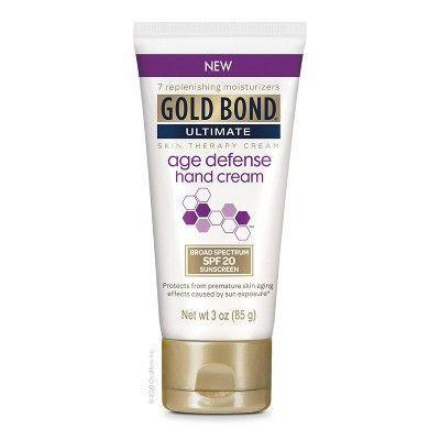 """<p><strong>Gold Bond</strong></p><p>target.com</p><p><strong>$5.99</strong></p><p><a href=""""https://www.target.com/p/gold-bond-ultimate-age-defense-hand-cream-3oz/-/A-79842393"""" rel=""""nofollow noopener"""" target=""""_blank"""" data-ylk=""""slk:Shop Now"""" class=""""link rapid-noclick-resp"""">Shop Now</a></p><p>Some might see Gold Bond as the gold standard of skincare because of how long it's been around. (The brand launched in 1882, you know.) Others might have discovered its skin-healing magic when Shaquille O'Neal's """"Sha-cool"""" commercials for the brand debuted in the early 2010s. (Is that just me?)</p><p> Regardless, this hand cream lives up to the brand's reputation for soothing and healing dry skin. It's mixed with the good stuff (skin-softening ceramides, moisture-retaining hyaluronic acid, brightening vitamin C) and protects hands with an SPF of 30. All without leaving behind a greasy residue.</p>"""