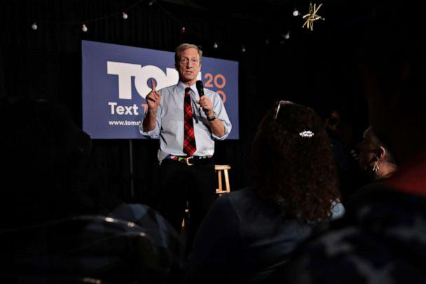 PHOTO: Democratic presidential candidate Tom Steyer speaks to during a campaign stop at Nacho Hippo on Feb. 26, 2020 in Myrtle Beach, S.C. Voters in South Carolina will cast ballots for the Democratic presidential primary on Feb. 29. (Scott Olson/Getty Images)