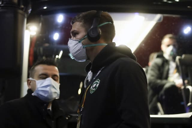 Players from Bulgarian team Ludogorets wore protective face masks ahead of their Europa League clash with Inter Milan, which was played behind closed doors at San Siro (Luca Bruno/AP)
