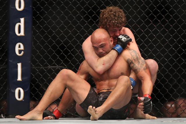 Ben Askren wrestles Robbie Lawler in their welterweight bout during the UFC 235 event at T-Mobile Arena on March 2, 2019 in Las Vegas. (Zuffa LLC)