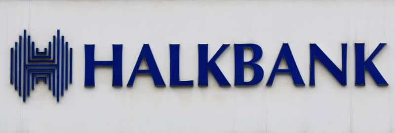 FILE PHOTO: A view shows the logo of Halkbank at its headquarters in Atasehir, in the Asian part of Istanbul