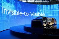 Booth showcasing Nissan's Invisible-to-Visible technology with VR goggles is seen at the CES Asia exhibition in Shanghai