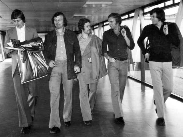 Allan Clarke, Mike Summerbee, Alan Ball, Bobby Moore and Martin Peters leave Heathrow for Poland to their World Cup qualifier
