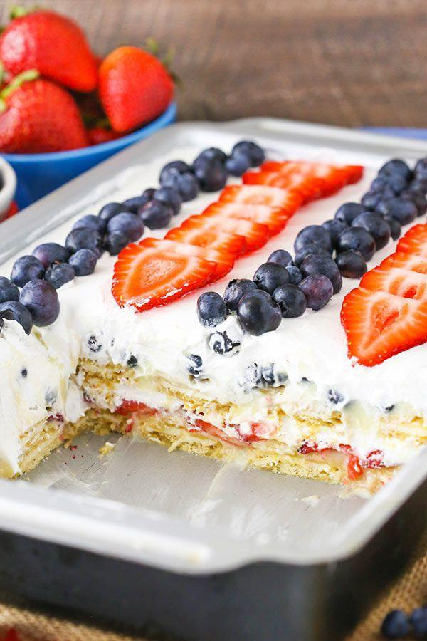 "<p>You probably already have the ingredients for this no-bake dessert on hand!</p><p>Get the recipe from <a href=""https://www.lifeloveandsugar.com/2014/06/04/strawberry-and-blueberry-cheesecake-icebox-cake/"" rel=""nofollow noopener"" target=""_blank"" data-ylk=""slk:Love Life and Sugar"" class=""link rapid-noclick-resp"">Love Life and Sugar</a>.</p>"