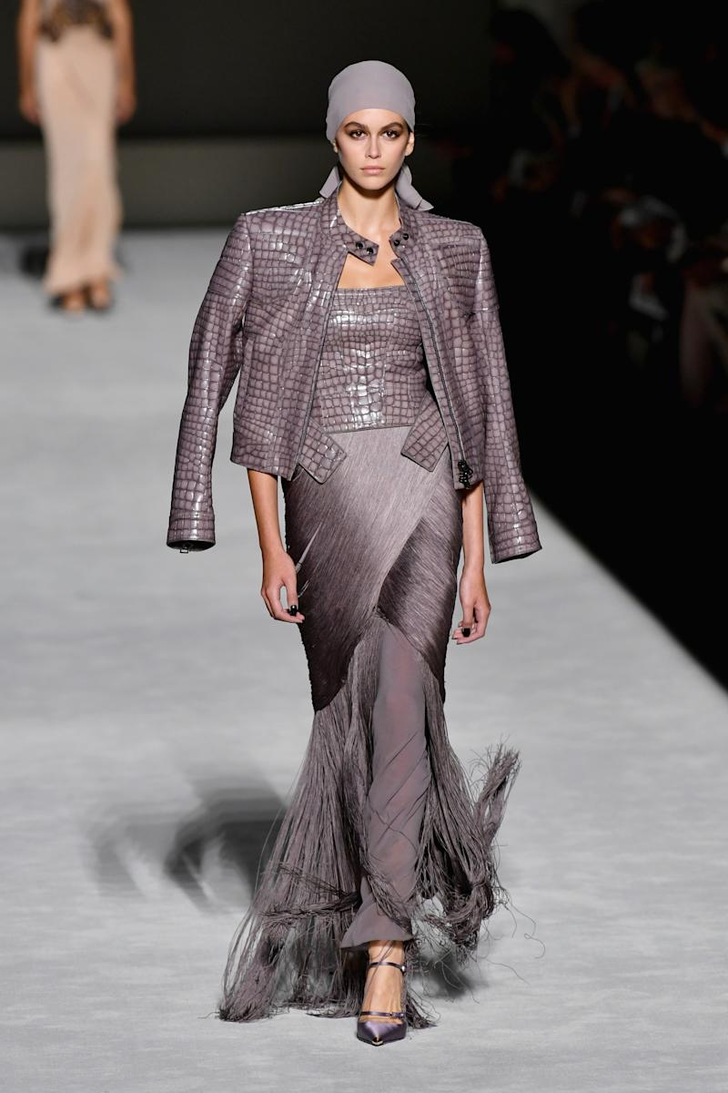 Kaia Gerber walks the runway at the Tom Ford fashion show during New York Fashion Week at Park Avenue Armory on September 5, 2018 in New York City. Photo courtesy of Getty Images.