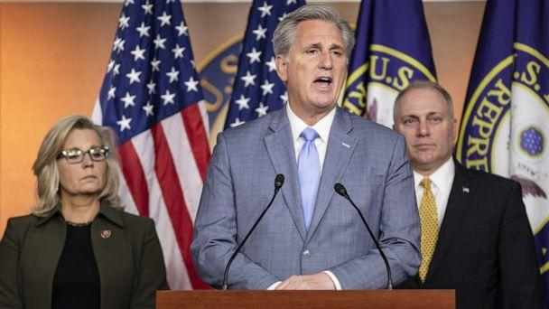 PHOTO: House Minority Leader Rep. Kevin McCarthy, R-Calif., speaks during a press conference with Republican Conference Chairman Rep. Liz Cheney, R-Wyo., and Republican Whip Rep. Steve Scalise, R-La., at the Capitol on Dec. 17, 2019 in Washington, D.C. (Samuel Corum/Getty Images)