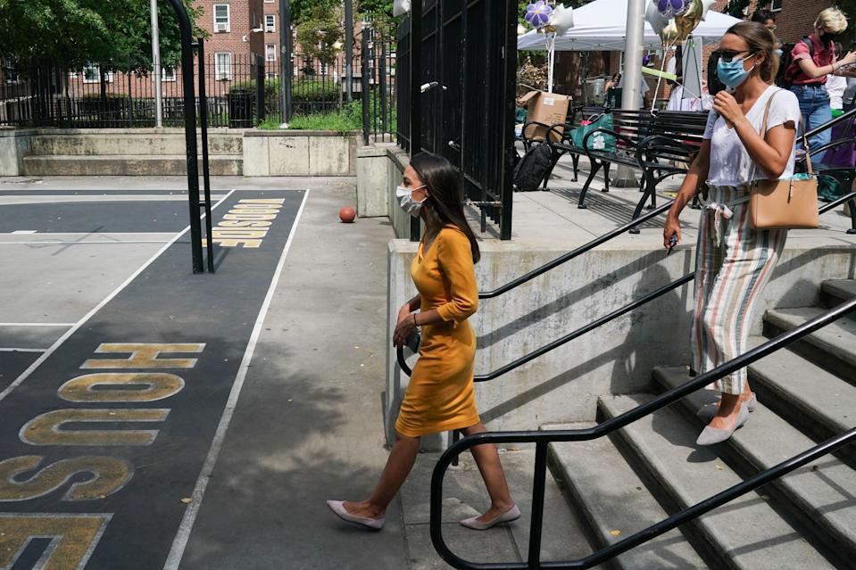 Democratic Rep. Alexandria Ocasio-Cortez, who is running for re-election, launches an effort to increase voter registration and 2020 Census participation in New York's 14th Congressional District in the Borough of Queens on August 15, 2020 in New York. (Photo by Bryan R. Smith / AFP) (Photo by BRYAN R. SMITH/AFP via Getty Images)