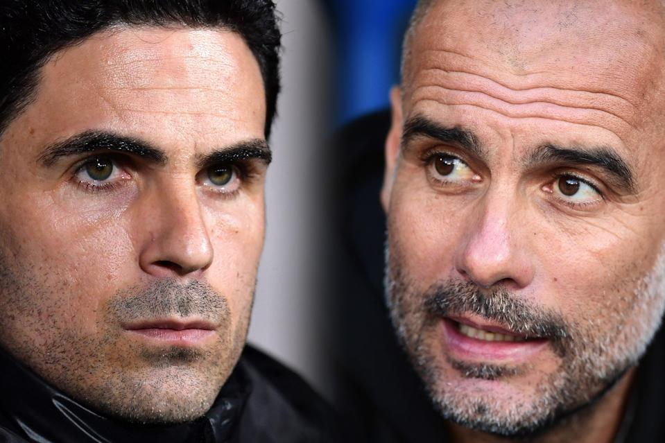 <p>Old friends Mikel Arteta and Pep Guardiola lock horns once again this weekend</p> (Getty Images)