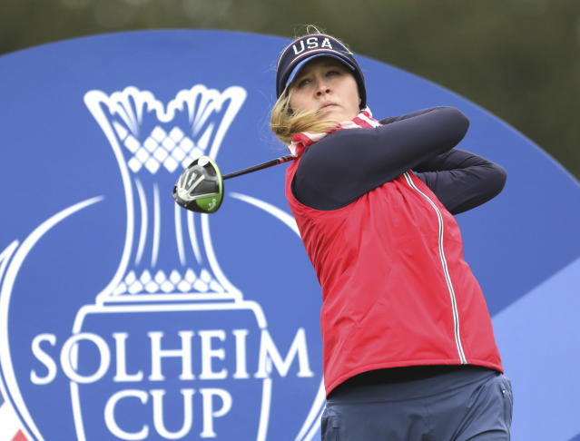 Jessica Korda of the US tees off on the 5th hole during a practice round for the Solheim cup at Gleneagles, Auchterarder, Scotland, Thursday, Sept. 12, 2019. The Solheim cup runs from 13-15 Sept. (AP Photo/Peter Morrison)